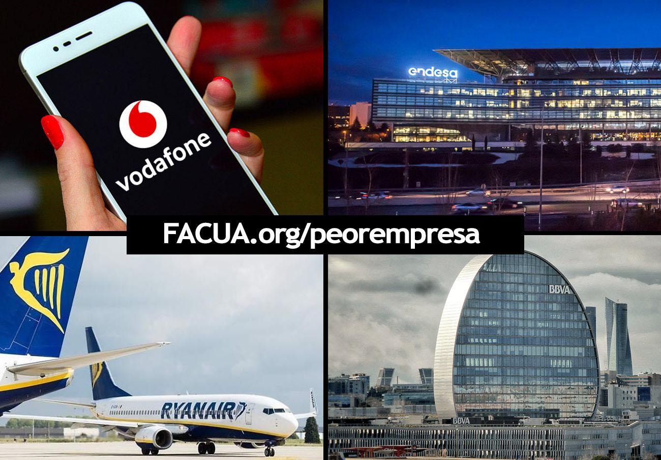 BBVA, Endesa, Ryanair y Vodafone, nominadas en la 10ª edición de los premios a La Peor Empresa del Año