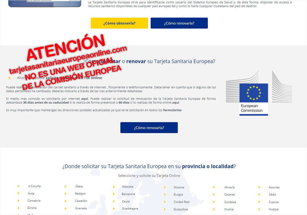 Una web que usa el logo de la Comisión Europea cobra 59 euros por renovar la tarjeta sanitaria