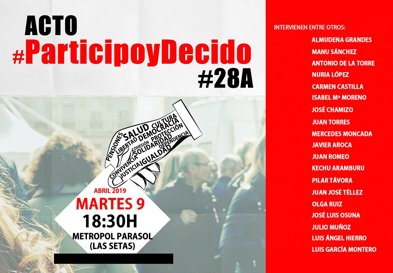 Olga Ruiz, presidenta de FACUA Andalucía, participa en el acto #ParticipoyDecido por las elecciones 28A