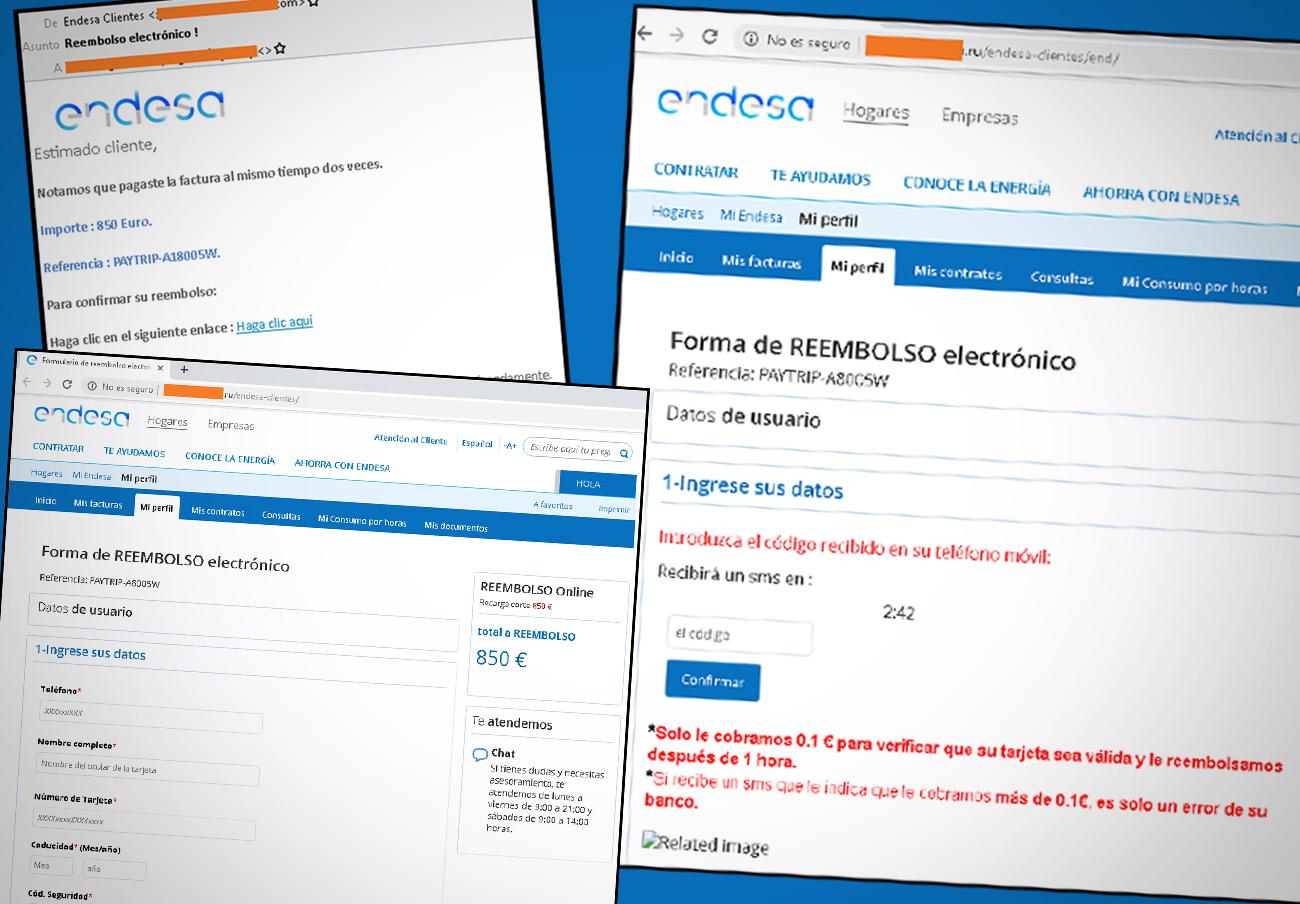 Endesa no va a reembolsarte 850 euros: es un fraude que sólo quiere tus datos, alerta FACUA