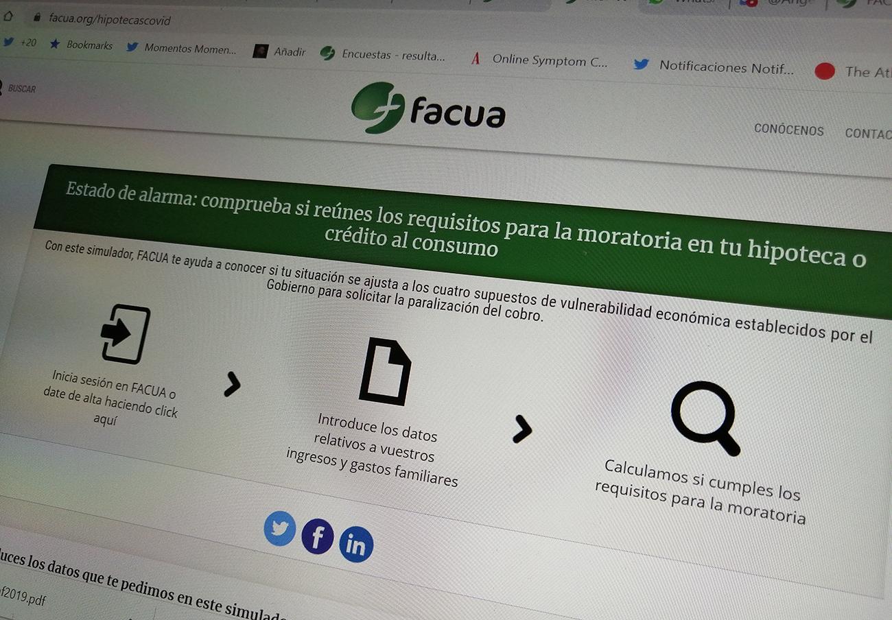 FACUA lanza un simulador para acceder a las moratorias de hipotecas, créditos y préstamos no hipotecarios