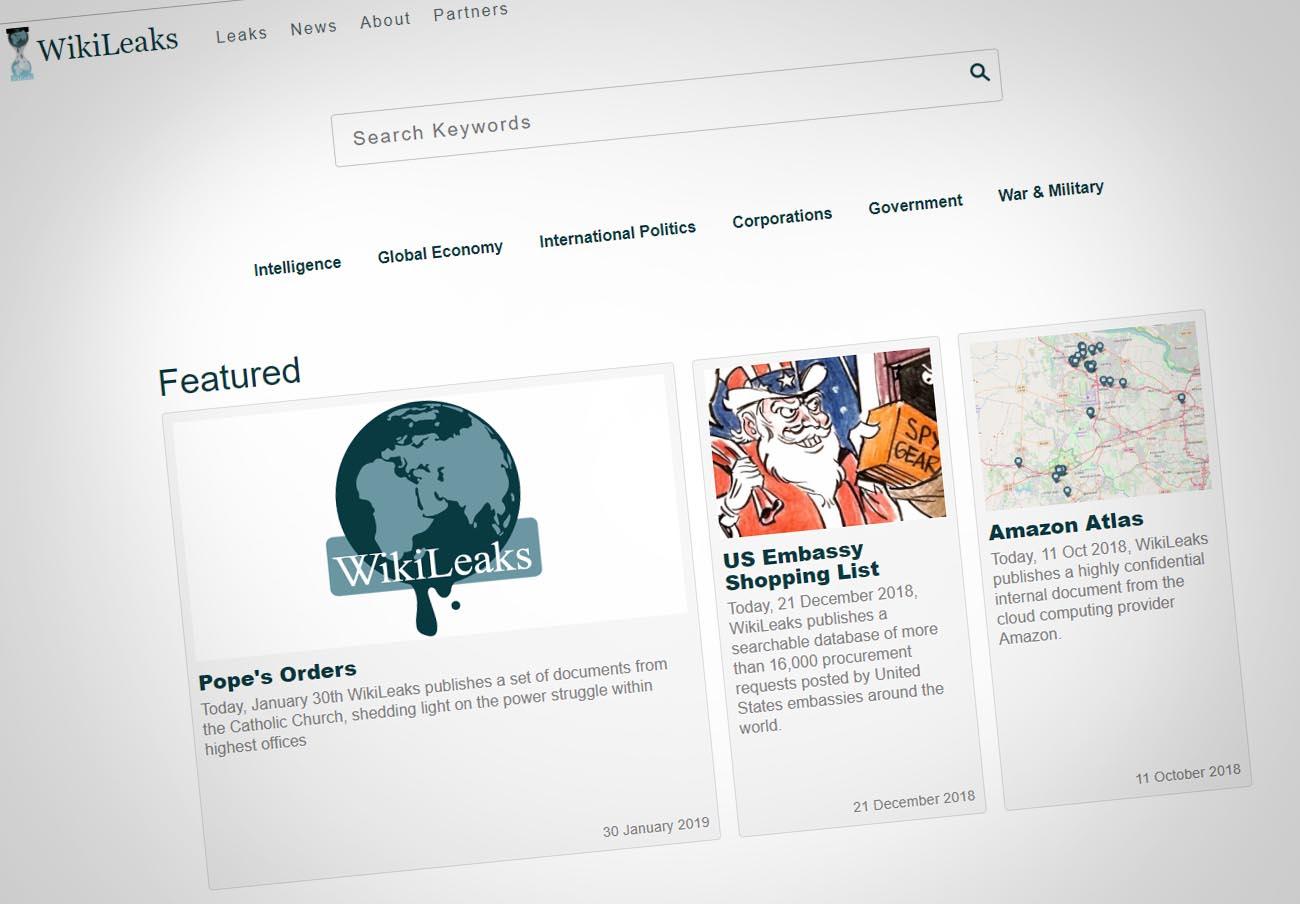 Web de WikiLeaks.