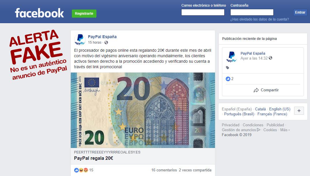 Un falso anuncio de PayPal en Facebook ofrece 20 euros para acceder a las contraseñas de los usuarios