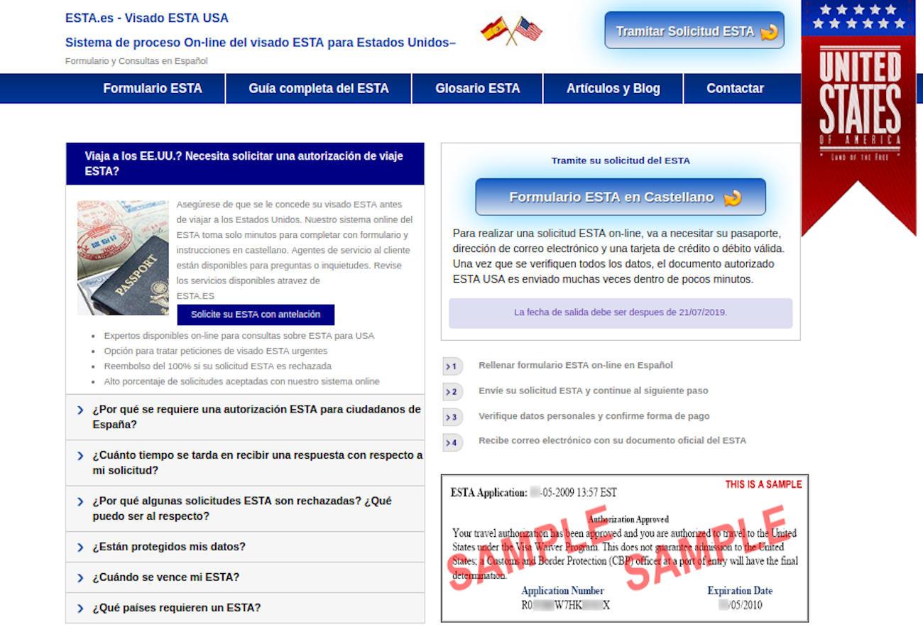 FACUA alerta de una web que simula ser un portal oficial de EEUU para tramitar una autorización de viaje