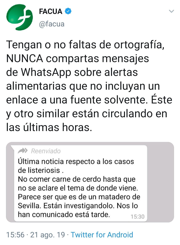 FACUA alerta de un bulo que circula por WhatsApp atribuyendo la listeriosis a un matadero de Sevilla