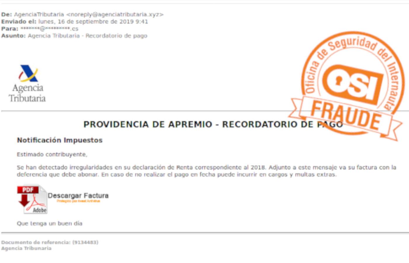 Alertan de varias campañas de correos electrónicos falsos que suplantan a la Agencia Tributaria