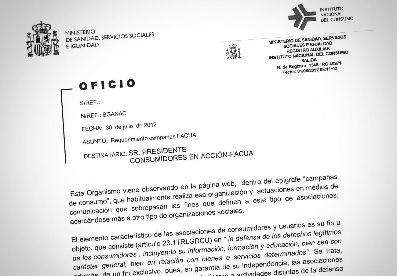 Oficio recibido por FACUA el 3 de agosto de 2012.