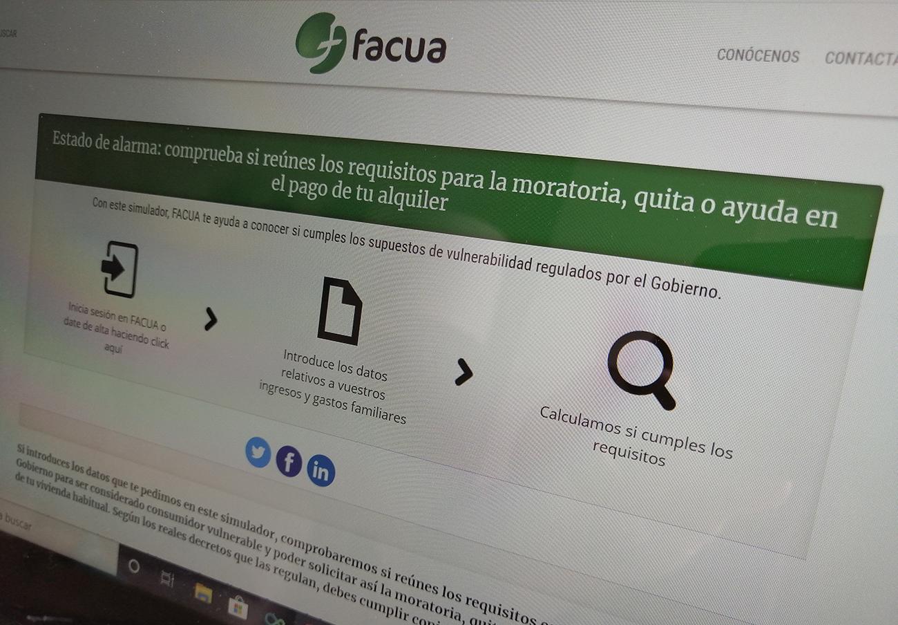 FACUA lanza un simulador para acceder a las moratorias, quitas y ayudas en los alquileres de viviendas