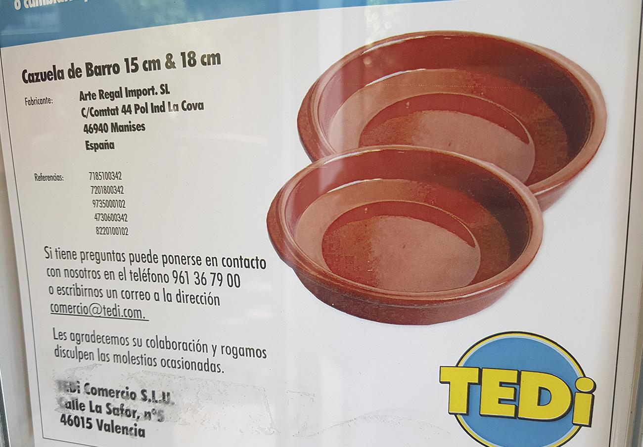 FACUA alerta de la alta presencia de aluminio en cazuelas de barro vendidas por las tiendas TEDi