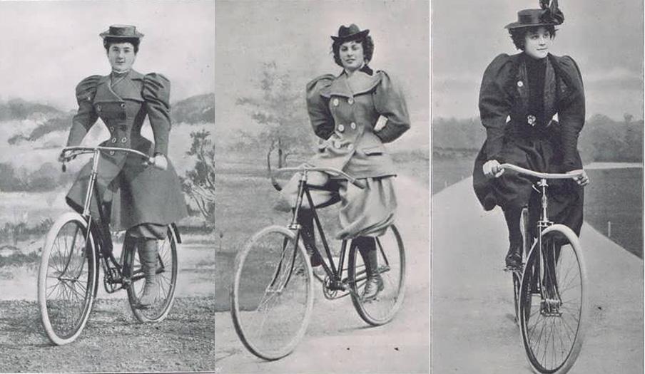 Imágenes de mujeres ciclistas en 1896 publicadas en la revista Cycling World Illustrated. | Imagen: Oldbkie.eu.