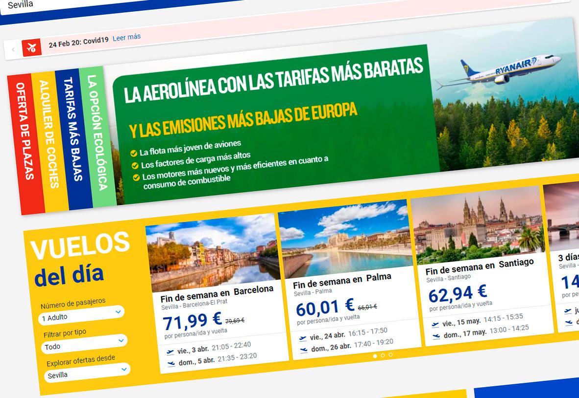 FACUA denuncia a Ryanair por publicidad engañosa al afirmar que es la aerolínea más ecológica de Europa