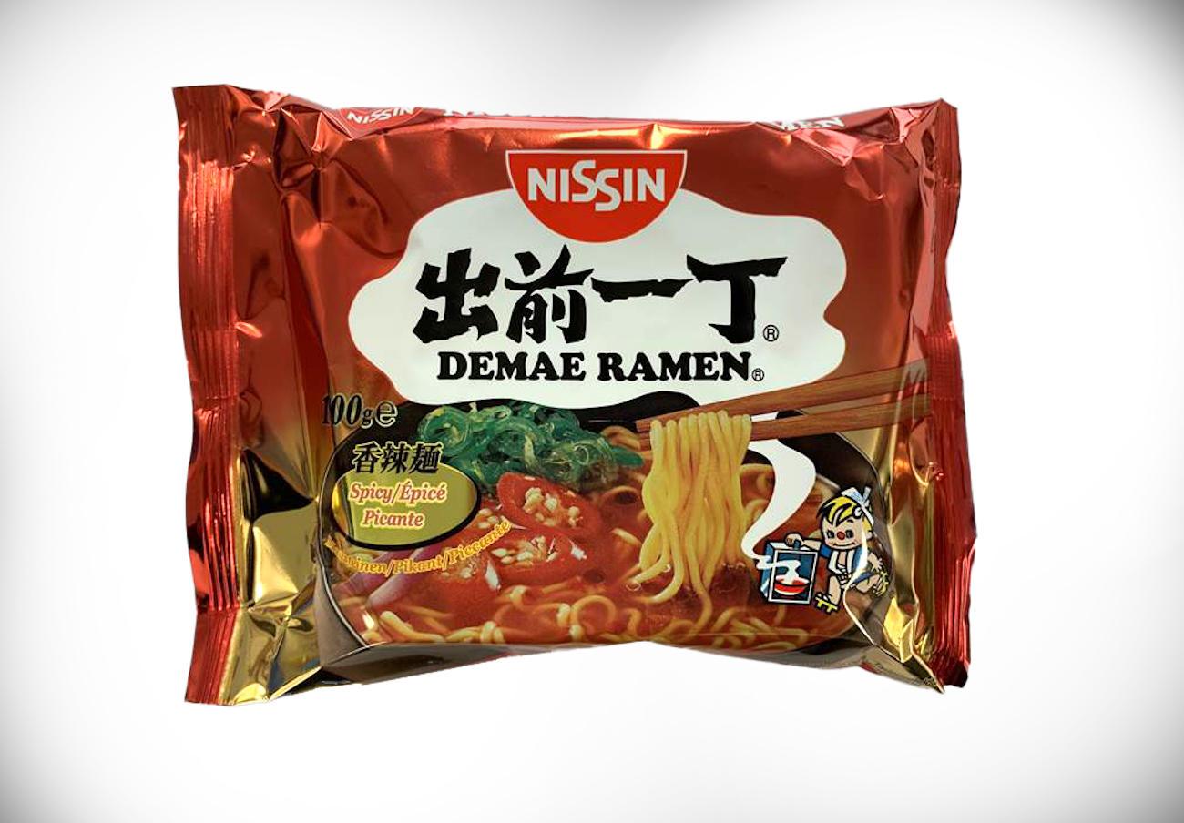 Alertan de la presencia de leche no declarada en fideos picantes Demae Ramen de la marca Nissin