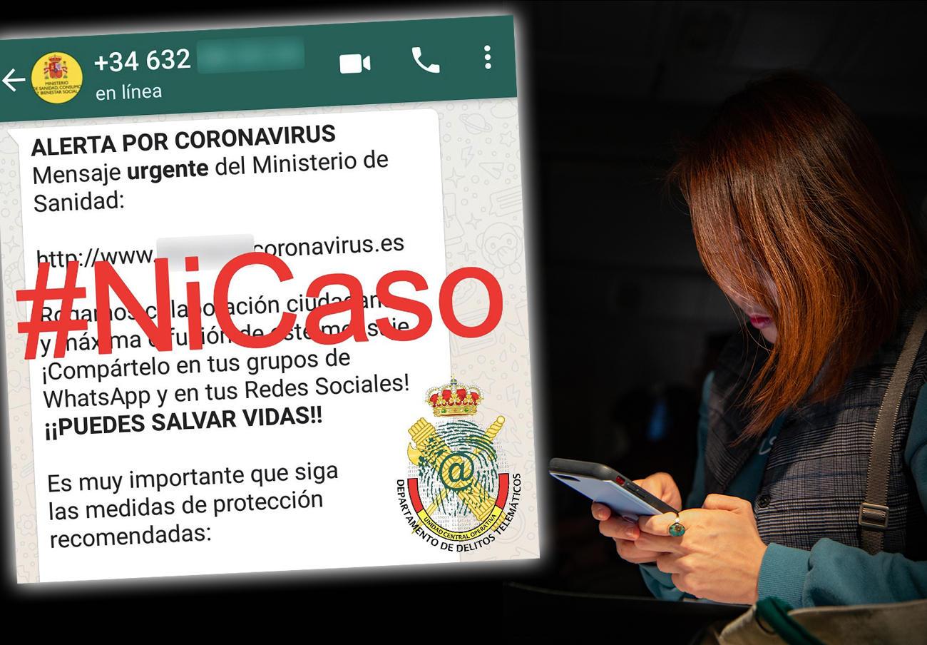 La Guardia Civil advierte de una estafa por WhatsApp que da supuestas recomendaciones sobre coronavirus