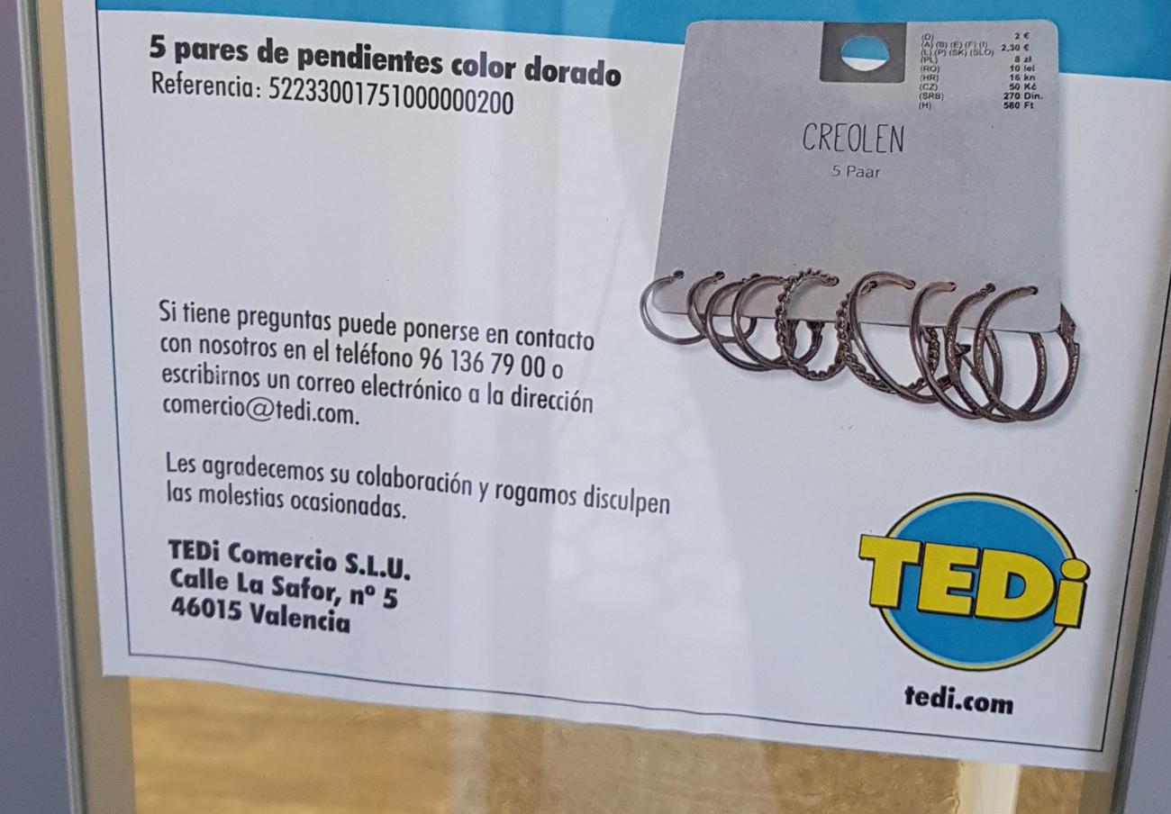 FACUA alerta de la retirada de unos pendientes dorados de TEDi por su alto contenido en níquel