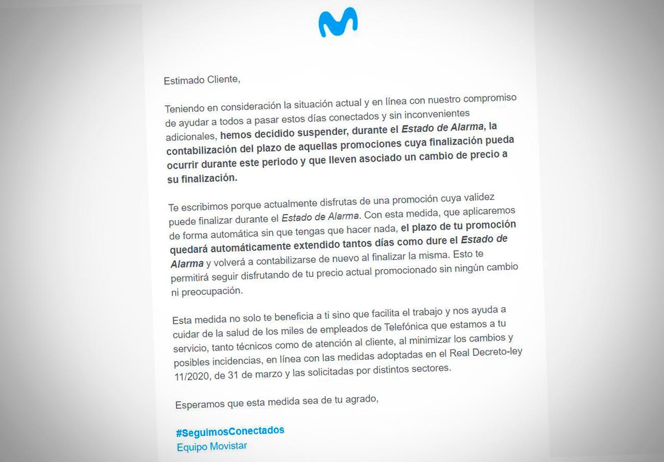 Movistar comunica a sus clientes que congela las tarifas promocionales, como solicitó FACUA