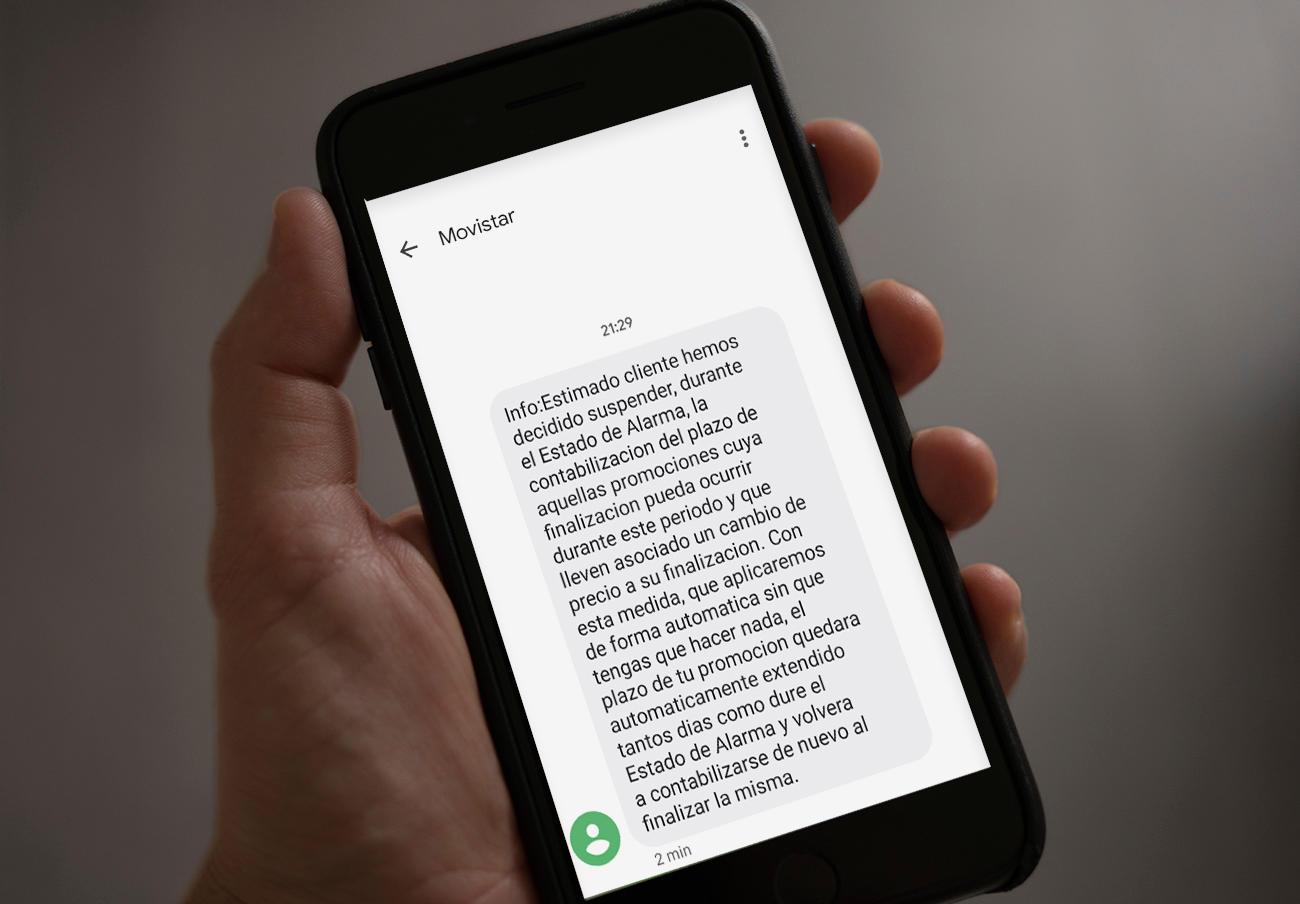 SMS que está enviando Movistar a clientes que tienen ofertas promocionales.