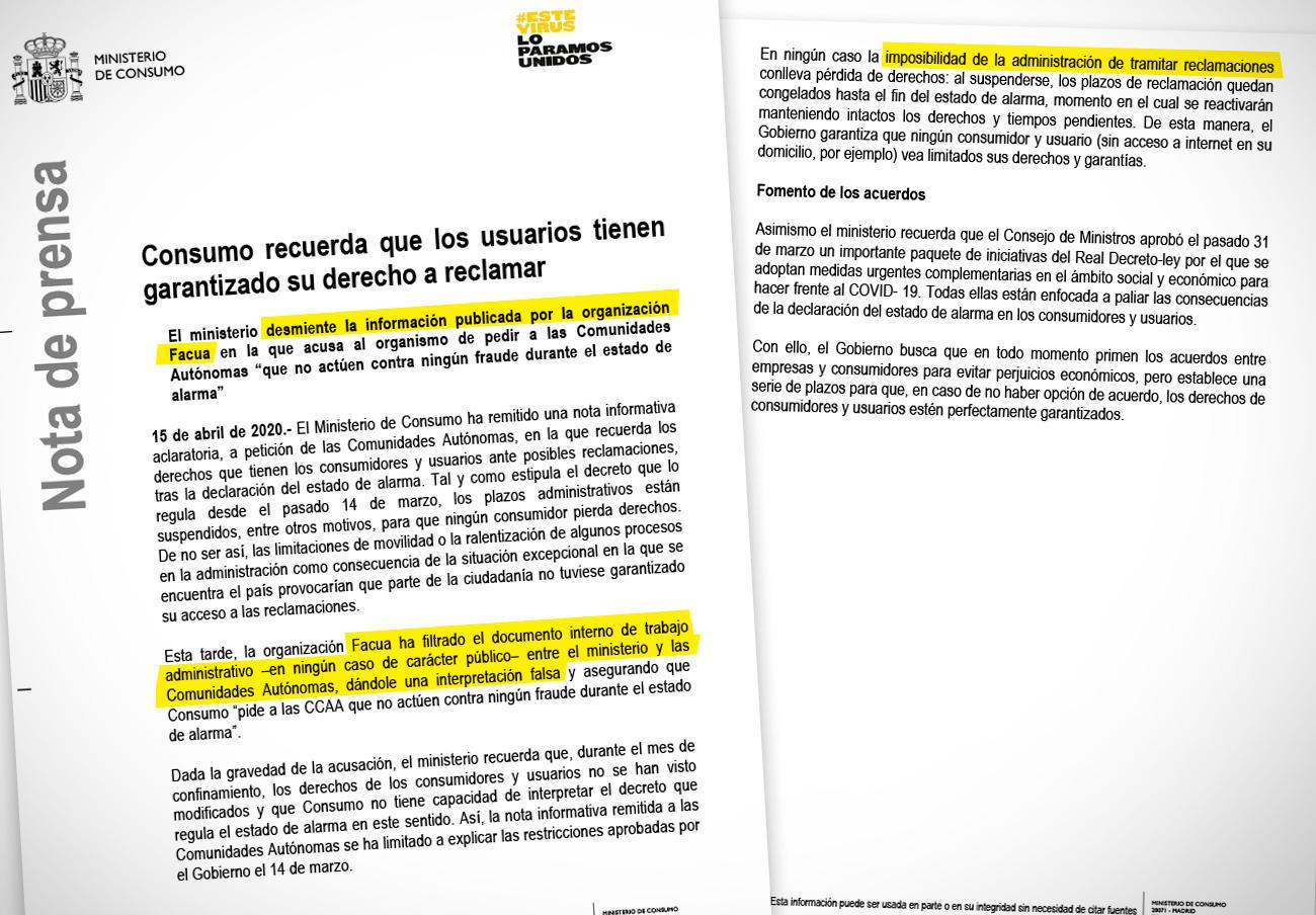 FACUA lamenta el desacertado comunicado de Consumo donde lanza acusaciones erróneas contra la asociación