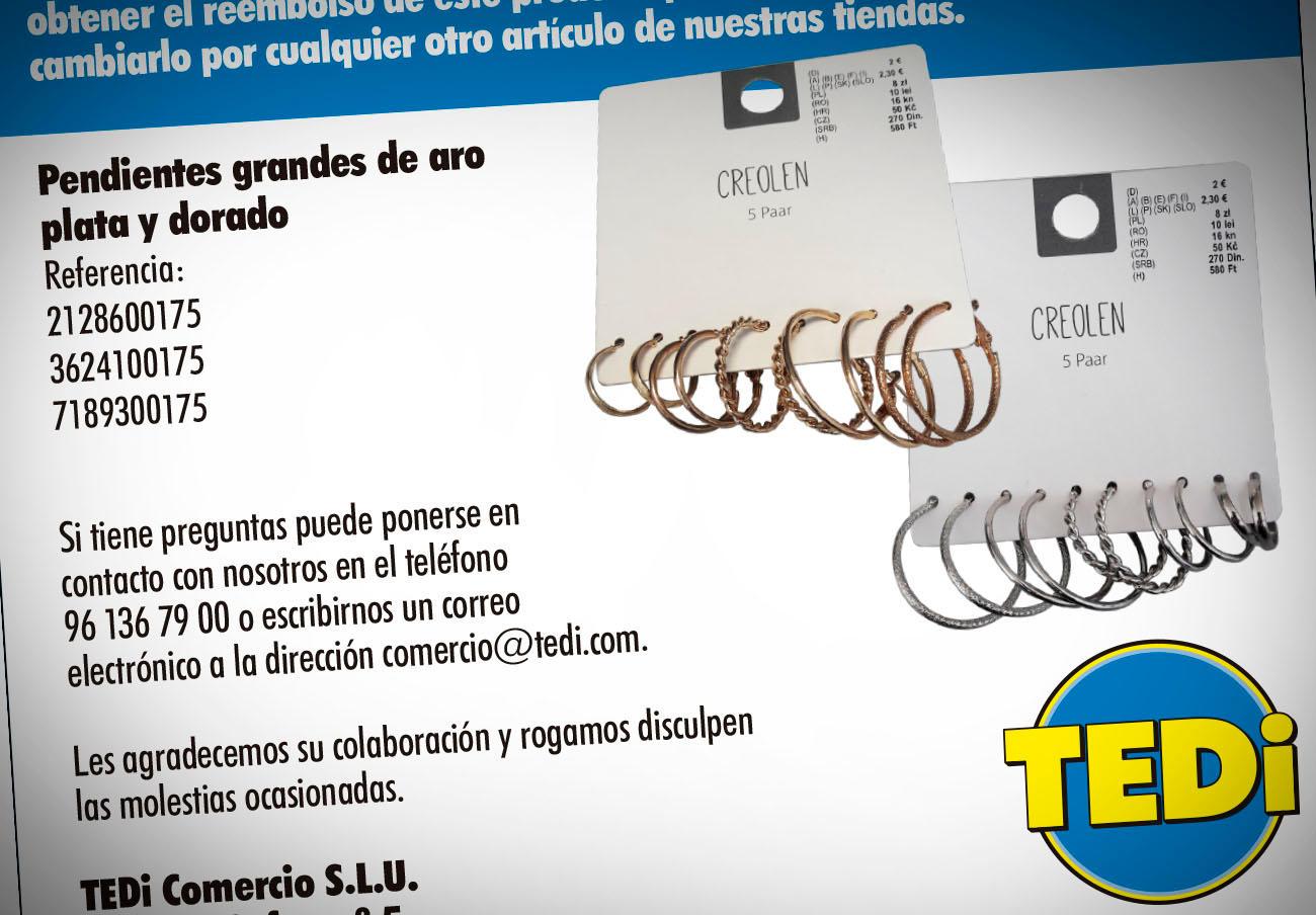 FACUA alerta de la retirada de unos pendientes dorados y plateados de TEDi por su alto contenido en níquel