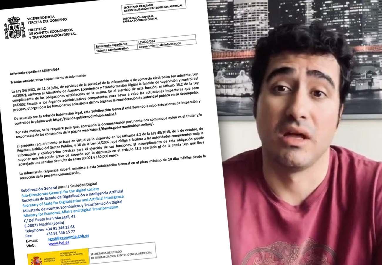 El Ministerio de Asuntos Económicos envía un requerimiento al negocio que promociona Alvise Pérez