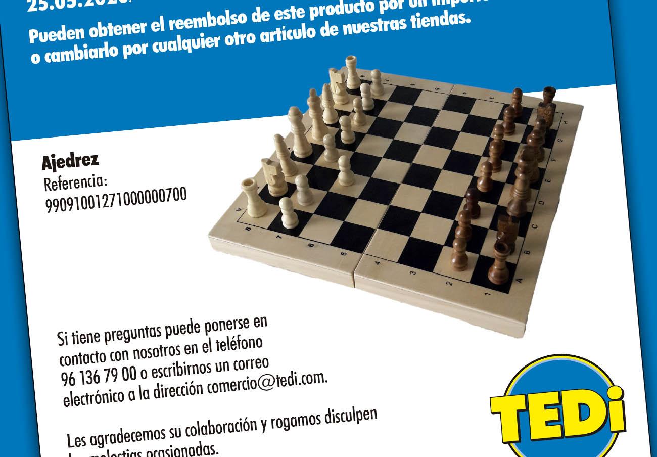 FACUA alerta de la retirada de un juego de ajedrez de TEDi por su alto contenido de formaldehído