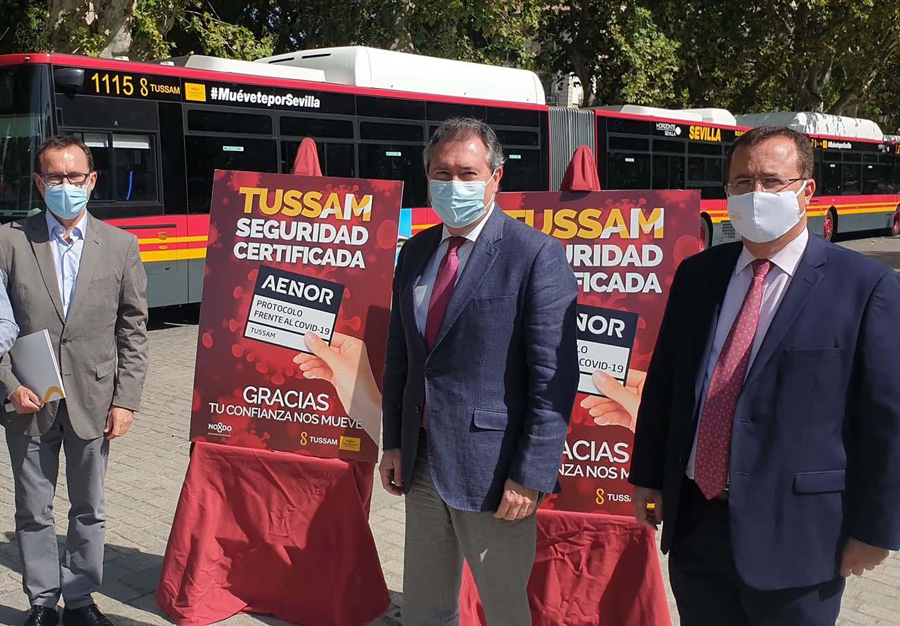 """FACUA Sevilla pide información respecto al sello """"anticovid"""" concedido a los autobuses de Tussam"""
