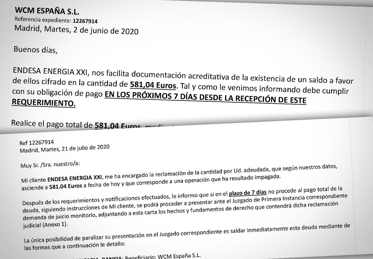 La firma de recobros WMCE intenta cobrar una falsa deuda con Endesa amenazando con tribunales... a FACUA