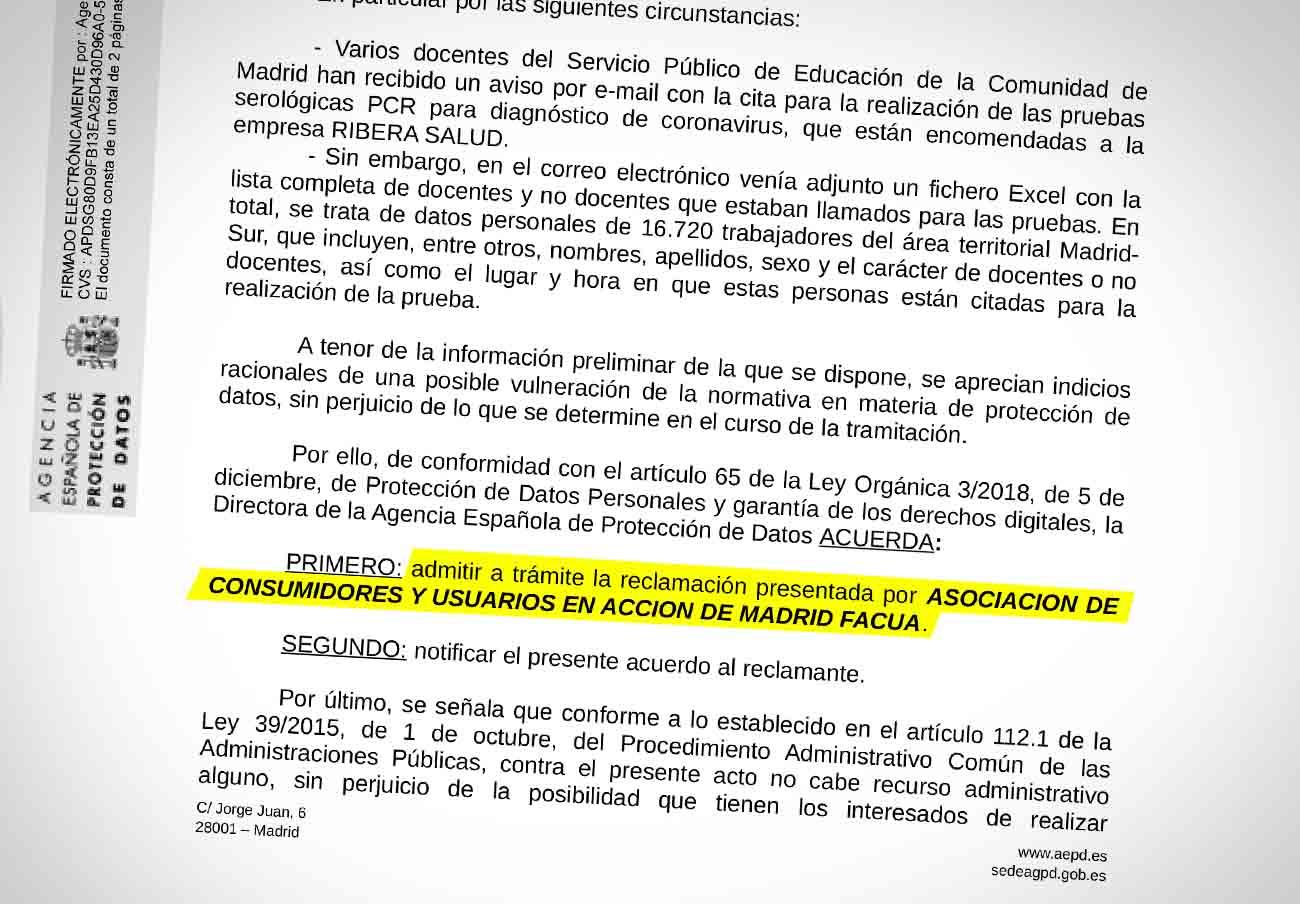 La AEPD admite a trámite la denuncia de FACUA Madrid contra la Comunidad al ver indicios de infracción
