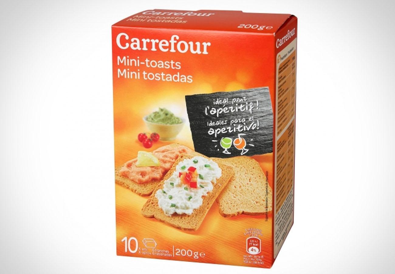 Detectan huevo no declarado en el etiquetado en mini tostadas marca Carrefour
