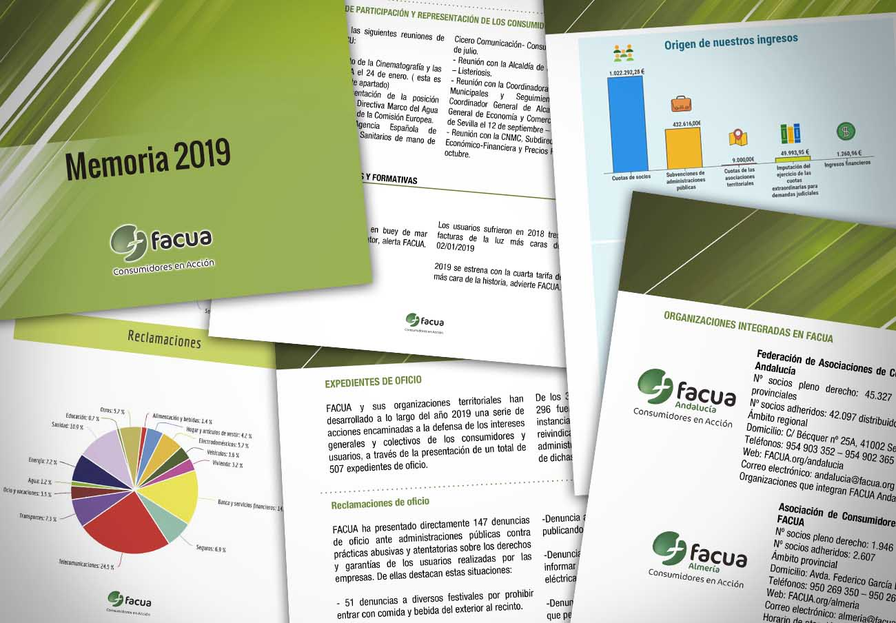 FACUA releases its '2019 Annual Report' with the report on actions and financial statements