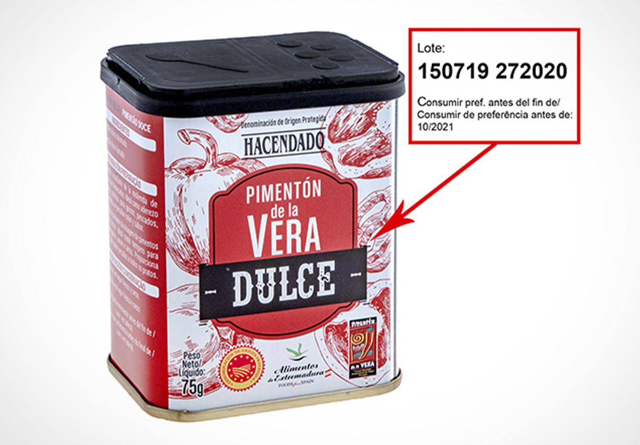 Consumo alerta de la presencia de salmonela en pimentón de la Vera dulce Hacendado vendido en Mercadona