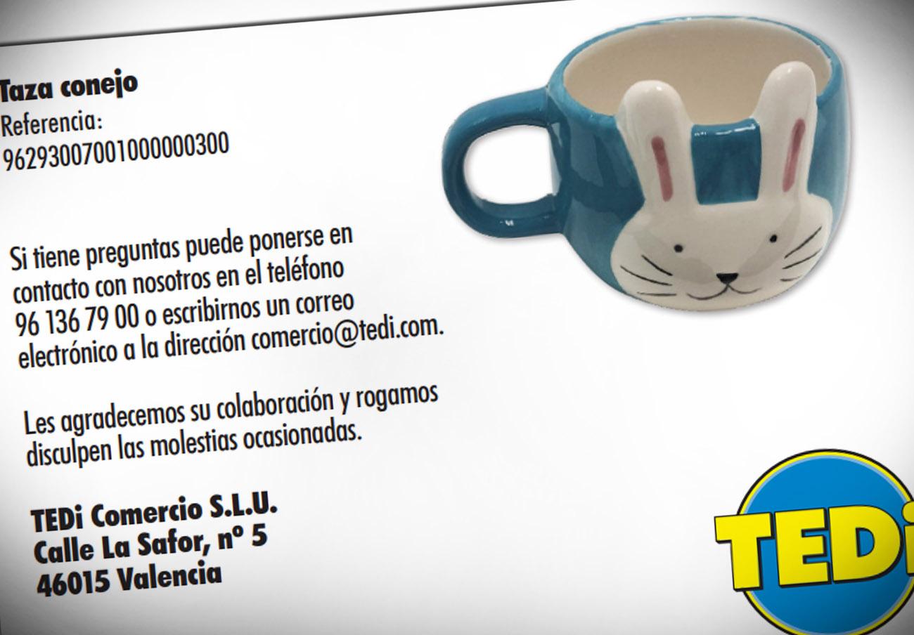 FACUA alerta de la retirada de una taza de conejo de TEDI por su alto valor en cobalto y arsénico