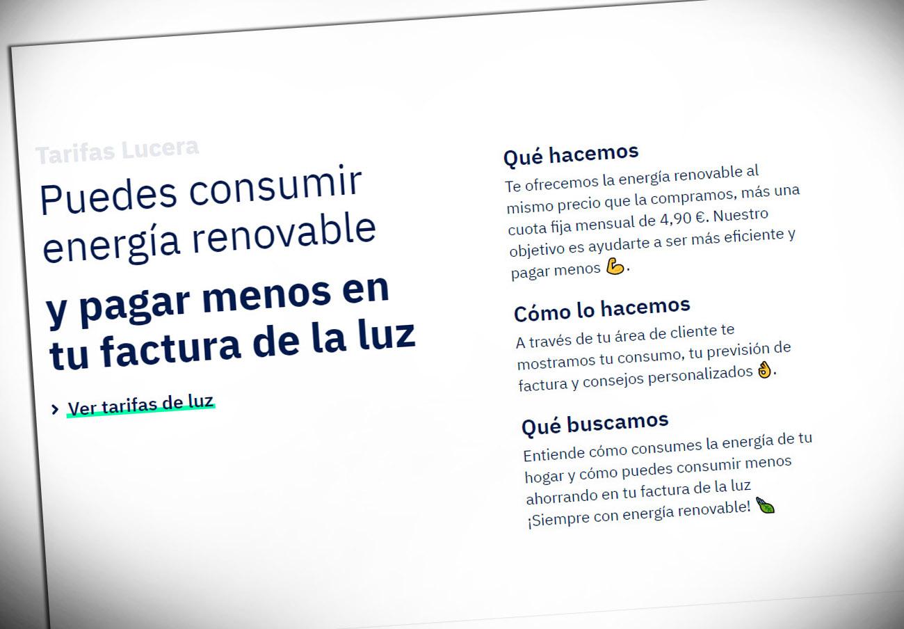 FACUA denuncia a Lucera por publicitar su cuota fija de electricidad sin incluir el IVA