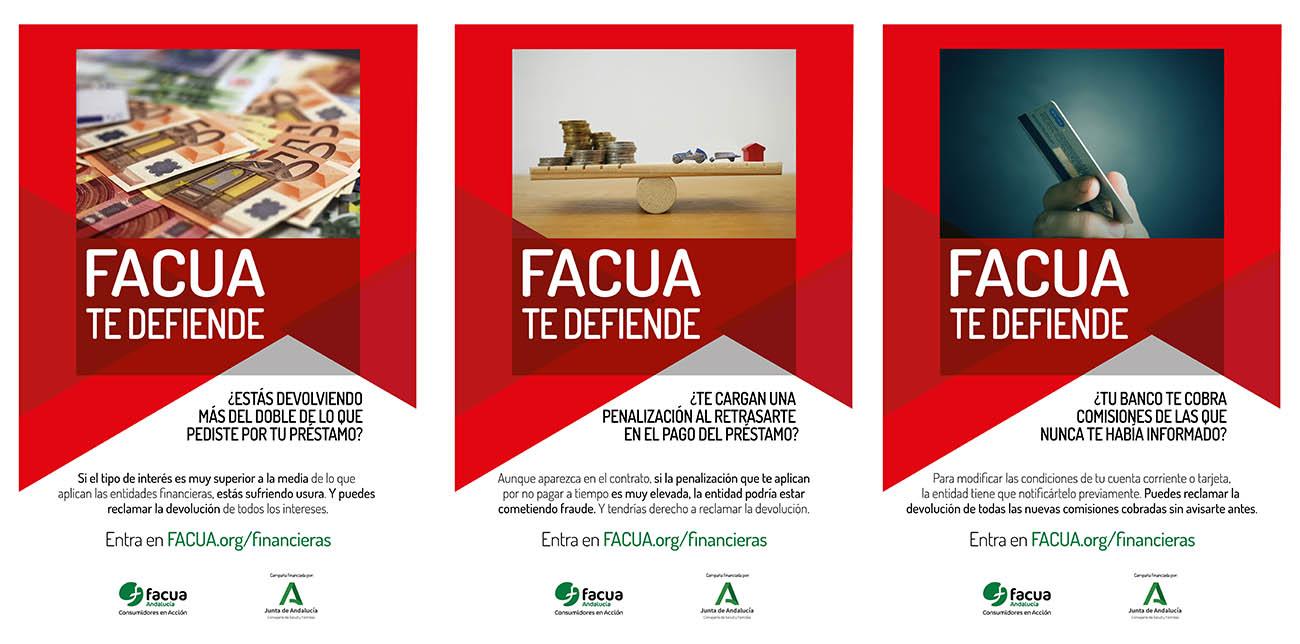 Creatividades de la campaña de FACUA Andalucía.