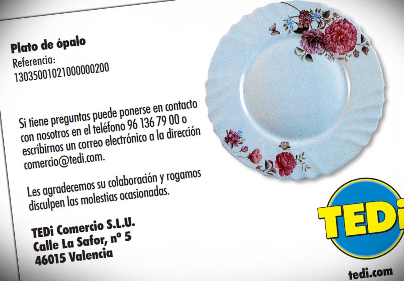 FACUA alerta de la retirada de un plato de ópalo de TEDi por su alto contenido en plomo