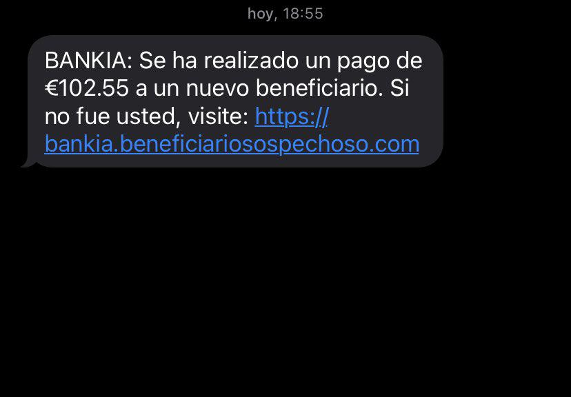 Captura del mensaje fraudulento.