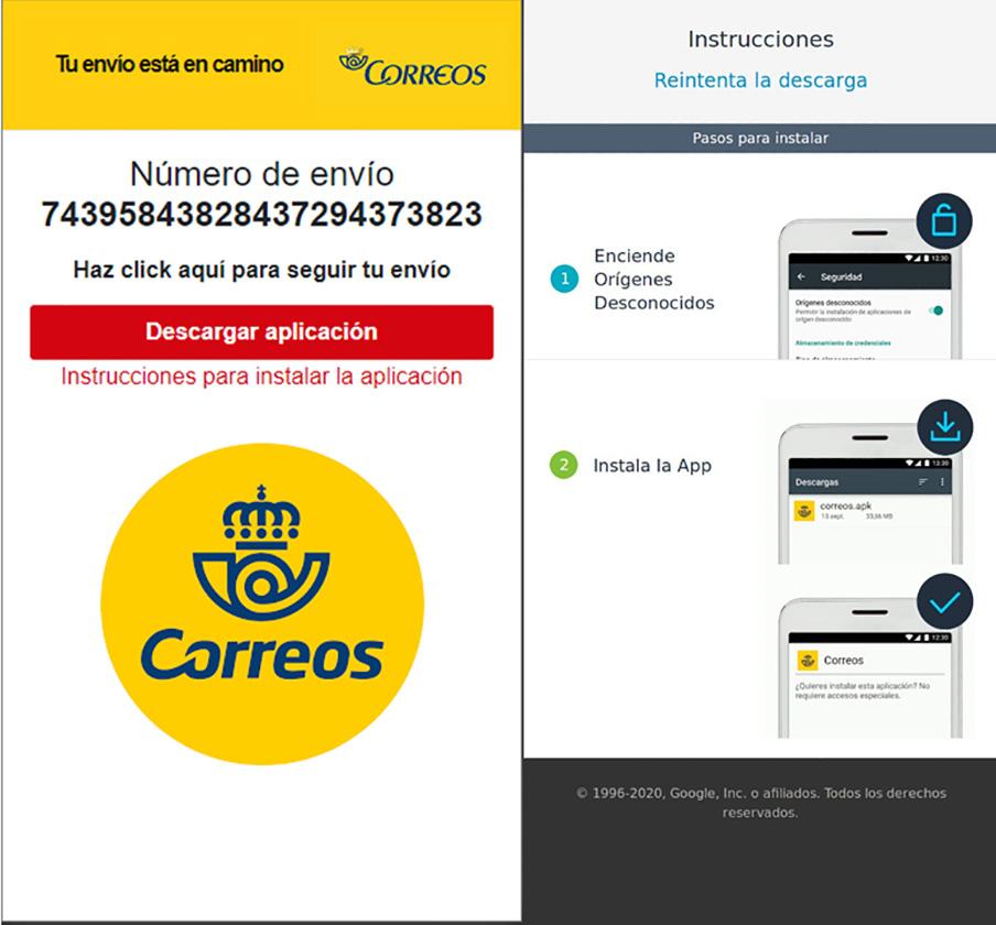 Ejemplo de la página falsa que suplanta a Correos. | Imagen: OSI.