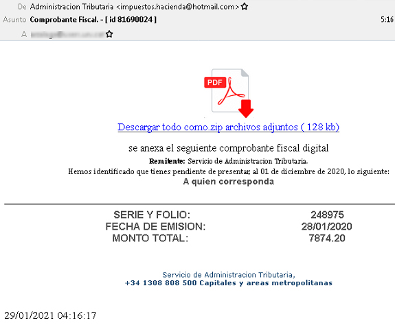 Ejemplo del correo fraudulento.   Imagen: OSI.