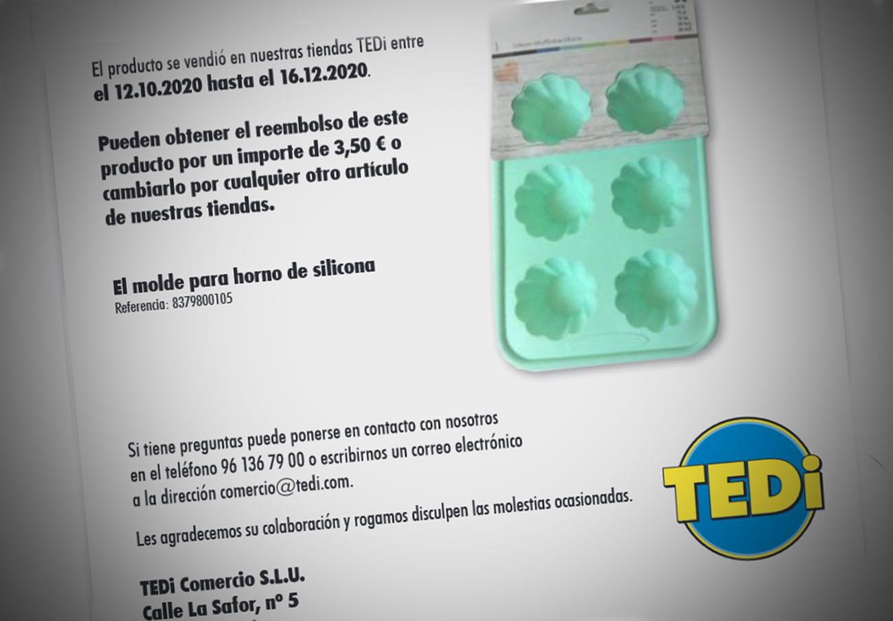 TEDi informa de la retirada de un molde para horno de silicona por alto contenido en ciclosiloxano