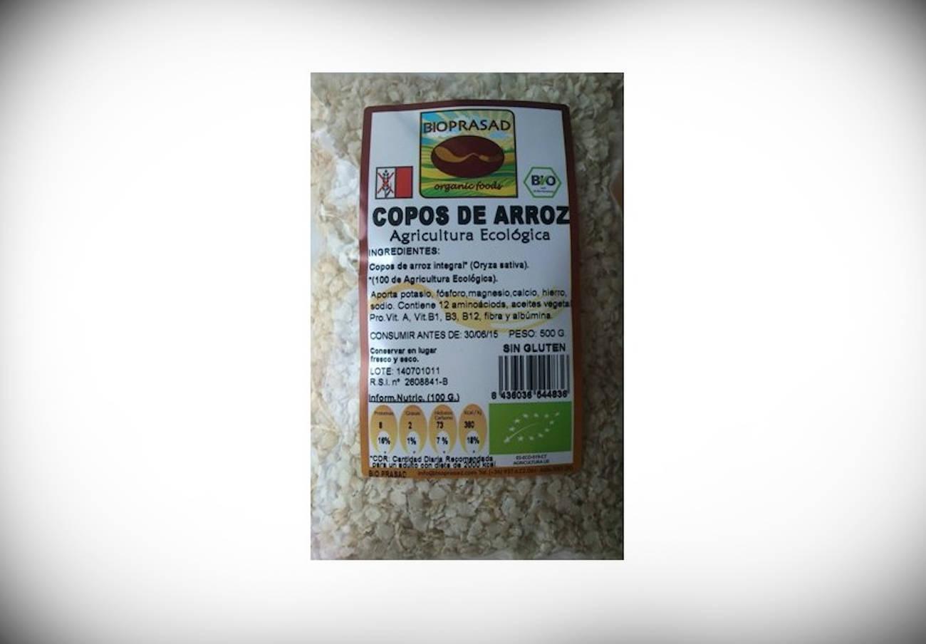 Alertan de la presencia de soja y altramuces no declarados en copos de arroz integral marca Bioprasad