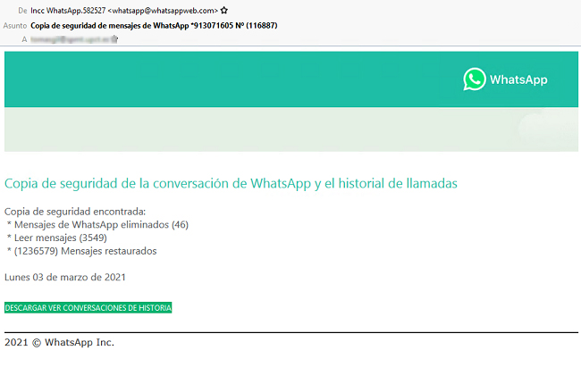 Ejemplo del correo fraudulento que suplanta a Whatsapp. | Imagen: OSI.