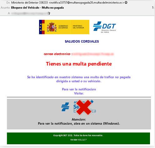 Ejemplo del correo fraudulento que suplanta a la DGT. | Imagen: OSI.