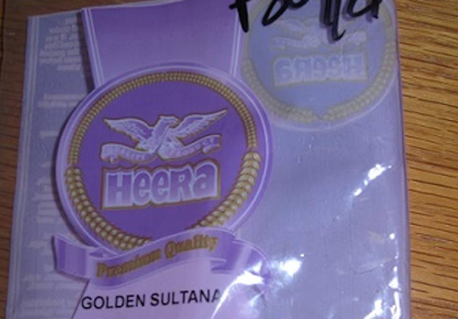 Alertan de la presencia de dióxido de azufre en pasas marca Heera Golden Sultana