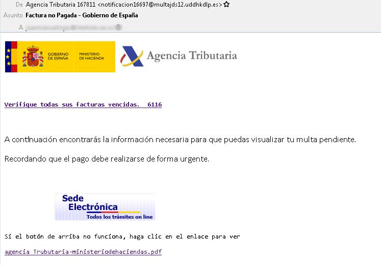 Ejemplo del correo fraudulento. | Imagen: Oficina de Seguridad del Internauta.