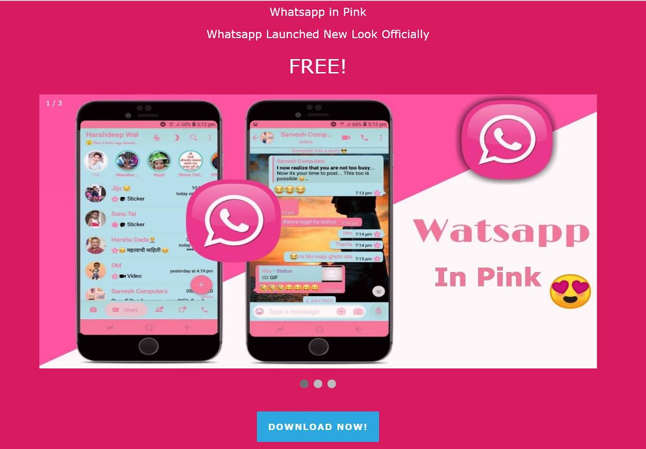 Alertan de una falsa versión rosa de WhatsApp que infecta el teléfono con un virus