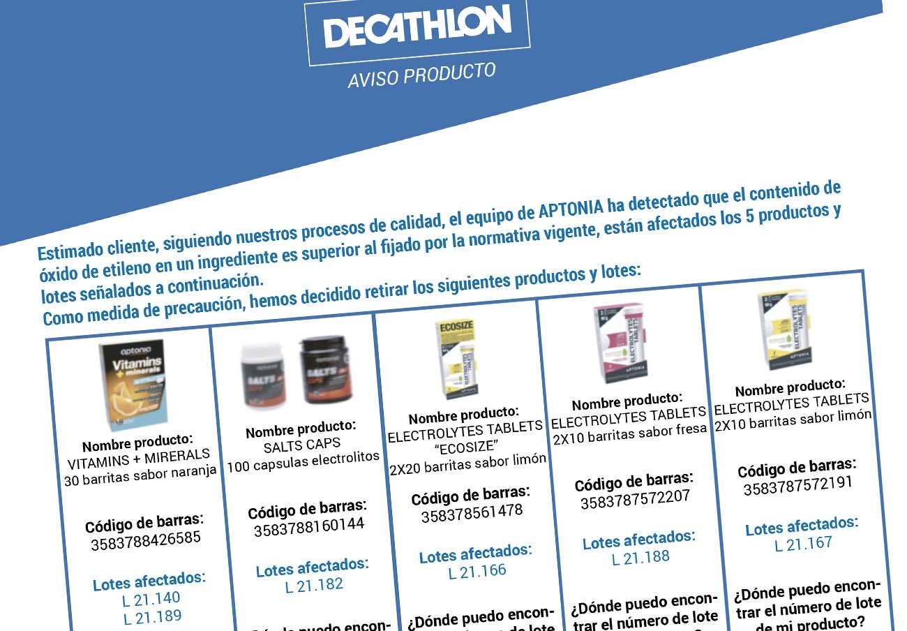 Más productos con óxido de etileno: Decathlon anuncia la retirada de 5 cápsulas y barritas energéticas
