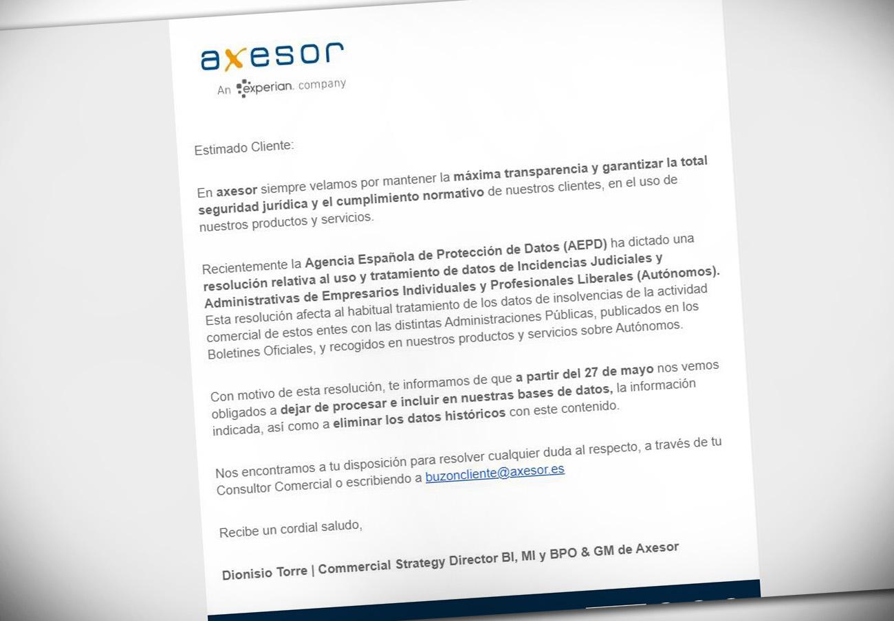 Tras la sanción a Equifax, Axesor elimina su fichero de morosos obtenido a partir de boletines oficiales