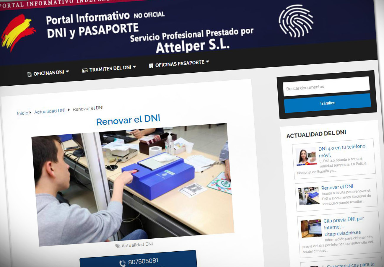 Simulaba ser oficial: tras la denuncia, modifican la web que insta a llamar a un 807 para renovar el DNI