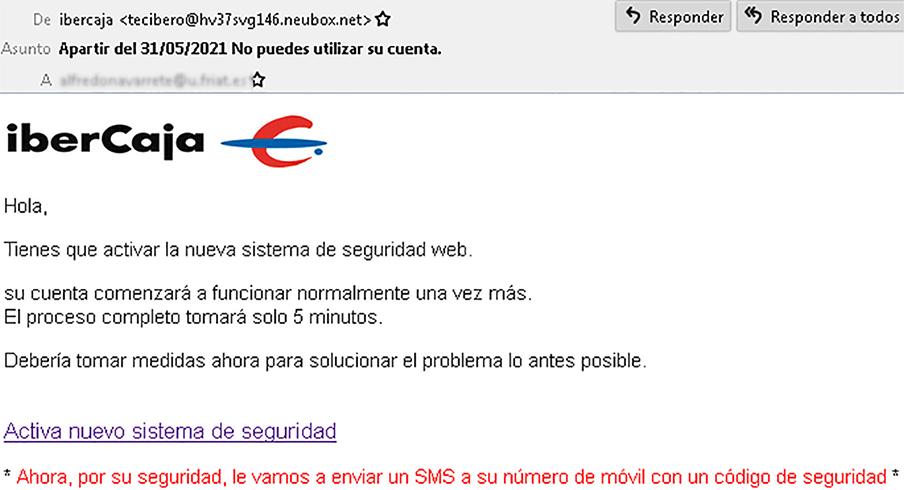 Ejemplo del correo fraudulento. | Imagen: OSI.