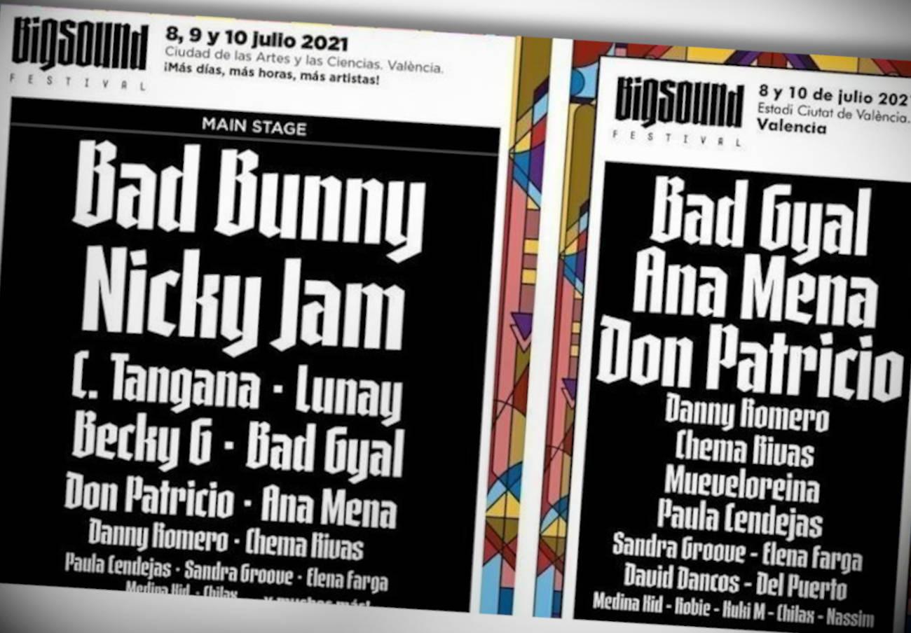 A la izquierda, el cartel inicial del evento, y a la derecha el definitivo tras el cambio del plantel de artistas. | Imagen: Big Sound Festival.
