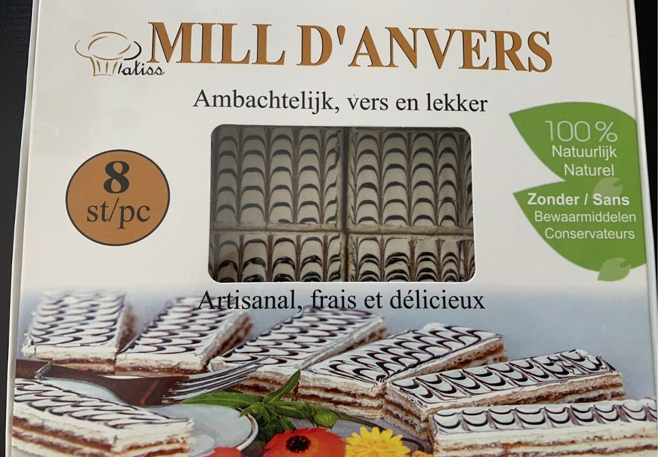 Imagen de los pastelitos Mill d'Anvers 8pc de la marca Amgaletta afectados por la alerta alimentaria. | Imagen: Aesan.